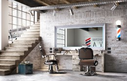 Barber Station mit grossem Frisierspiegel