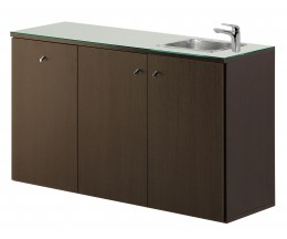 Salon Ambience Regal SERVICE CABINET 120 WENGE WITH BASIN AND GLASS TOP