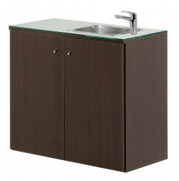 Salon Ambience Regal SERVICE CABINET 80 WENGE WITH BASIN AND GLASS TOP